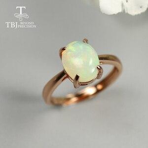 Женское кольцо с опалом овальной огранки, 8*10 мм, 1,8ct, натуральный Опал из фиопии, ювелирное изделие из серебра и розового золота, ювелирное из...