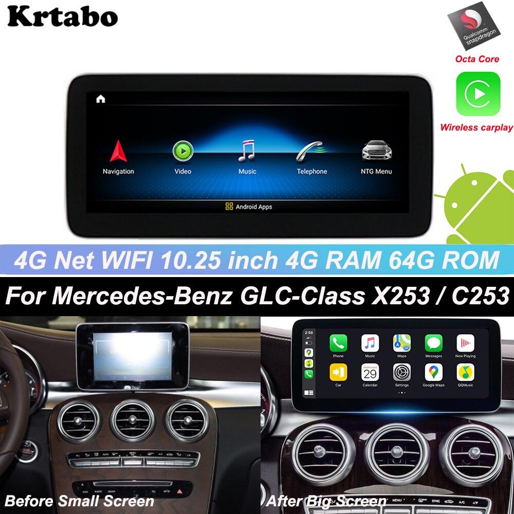 Para Mercedes Benz Classe GLC X253 C253 W205 2015-2020 Carplay Android Multimedia Player de Rádio Sem Fio Estilo Original de 10.25 polegada