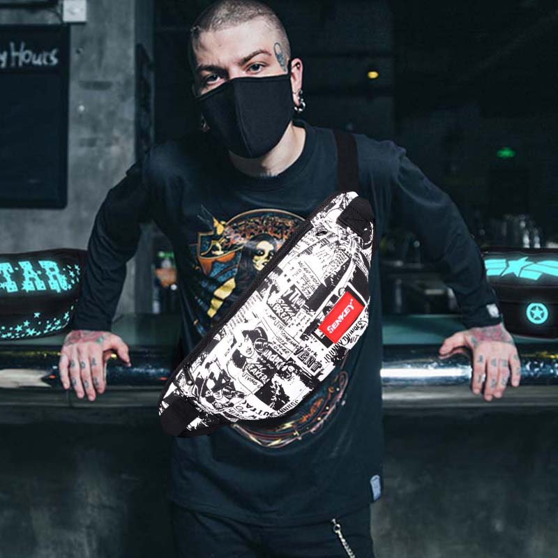 New Waist Pack Men Waist Bag Women Shoulder Bag Hip Hop Glow Chest Bag Streetwear High Capacity Kidney Bum Bags Banana Bags