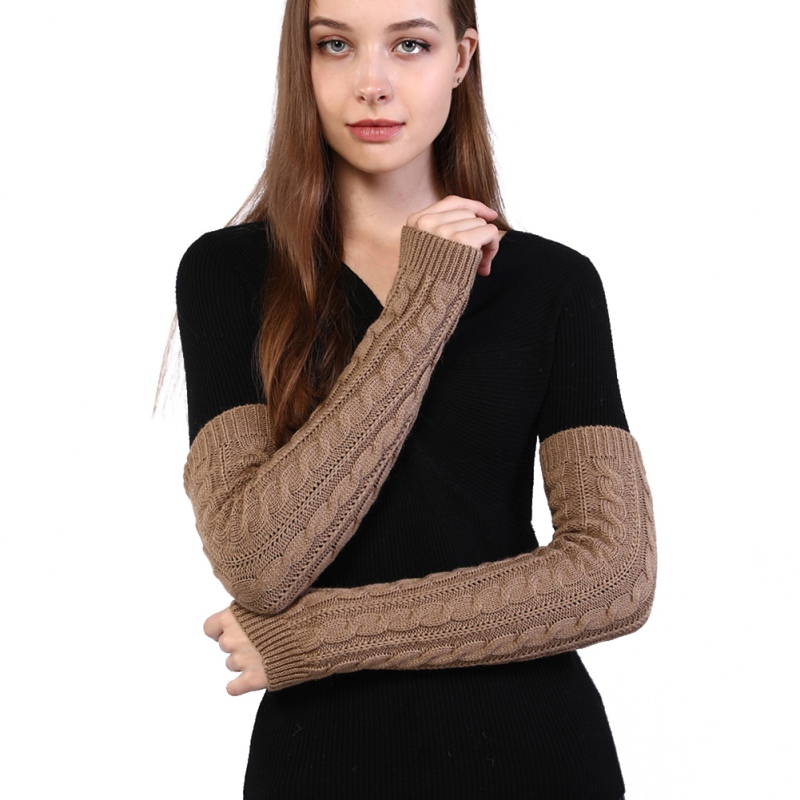 Autumn And Winter Half-finger Knitted Gloves Long Solid Color Warm Arm Cover Arm Sleeves