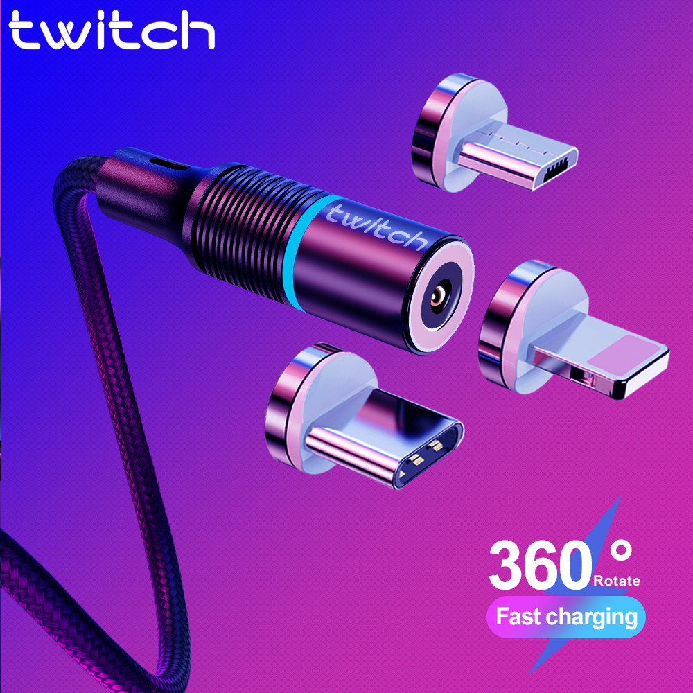 Twitch Magnetic Micro USB Cable For iPhone Samsung Android Mobile Phone Fast Charging USB Type C Cable Magnet Charger Wire Cord(China)
