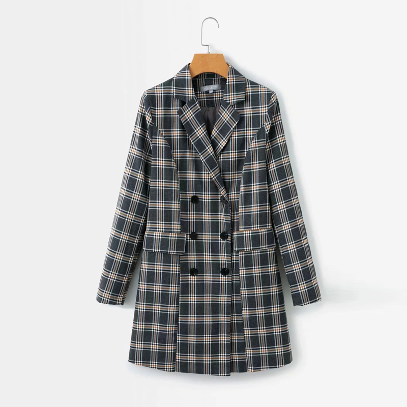 Temperament Long Women's Jacket Autumn New Double-breasted Long-sleeved Plaid Blazer Office Suit Jackets For Women 2019