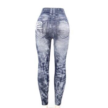 Women Imitation Jeans Leggings Slim Elastic Pencil Pants Casual Tights 2019 New Items for Autumn Fashion Hole Vintage Denim Pant 6