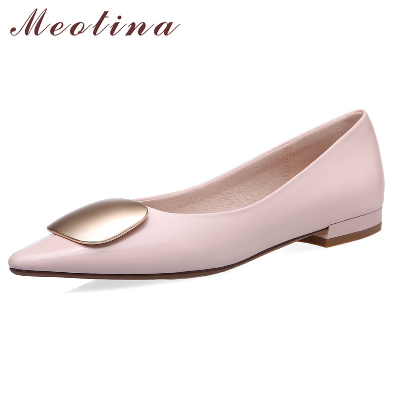 Meotina Spring Flats Shoes Women Natural Genuine Leather Flat Loafers Shoes Cow Patent Leather Pointed Toe Shoes Ladies Size 39