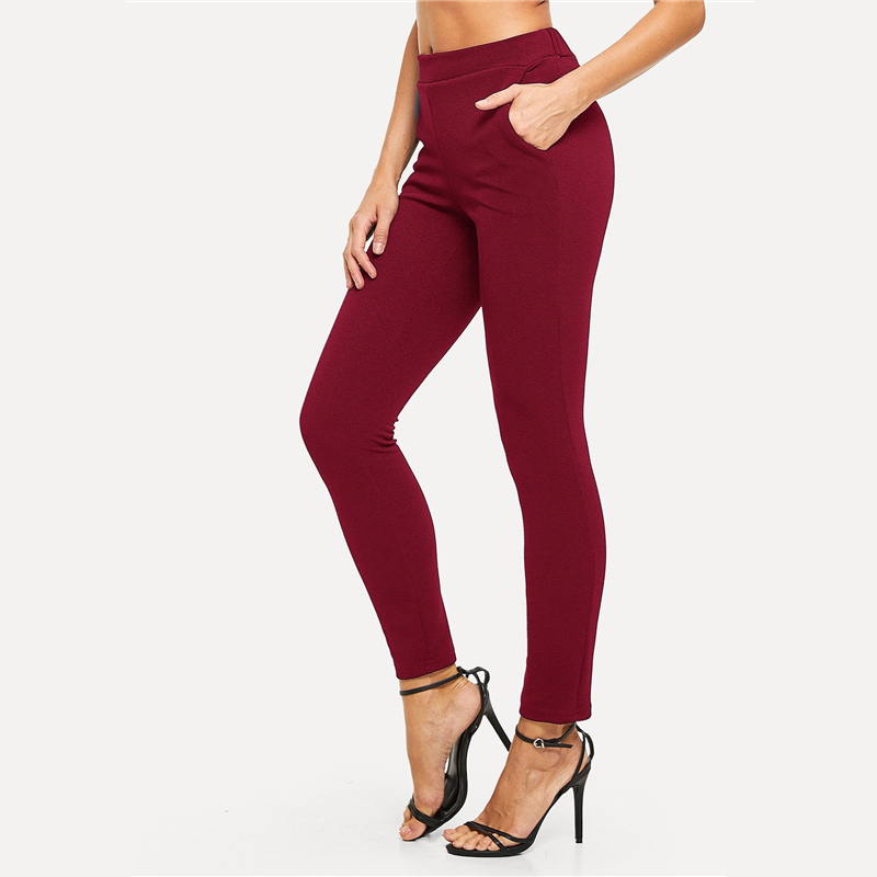 SHEIN Elastic Waist Mid Waist Skinny Trousers Autumn Office Lady Elegant Slim Fit Vertical Women Pencil Pants 12