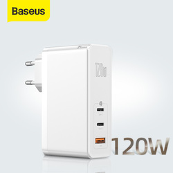 Baseus 120W GaN USB cargador QC4.0 QC3.0 PD3.0 carga rápida para iPhone 11 Pro XS USB PD cargador rápido GaN para tableta portátil