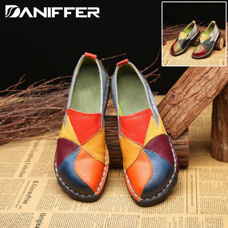 2020 New Fashion Women Leather Flat Shoes Patchwork Female Slip On Casual Mix Color Comfortable Loafers Moccasins Driving Shoes
