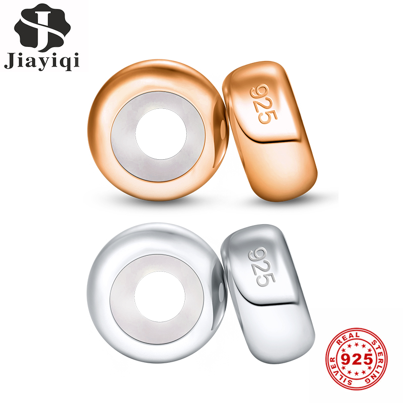 Jiayiqi 2pcs/Lot Gold Silver 925 Stopper Silicon Beads Fit Charms Silver 925 Original Bracelet Charms For Jewelry Making(China)