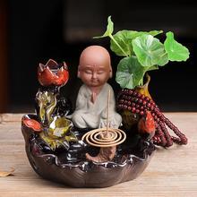 Lovely Monk Backflow Incense Burner Meditation Lotus Flower Holder Smoke Waterfall Ceramic Censer Decorative Buddha