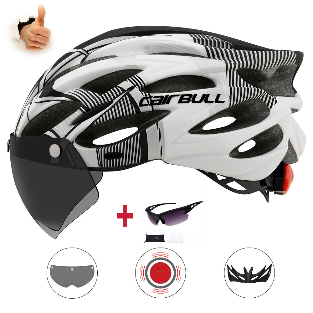 Cairbull Ultralight Cycling  Helmet with Removable Visor, Bike helmet, Tail Light, Integrally Molded, Mountain Road MTB Helmets