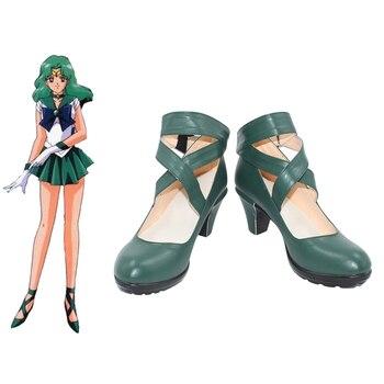 New Anime Salior Moon Sailor Neptune/Kaiou Michiru Cosplay Halloween Party Dark Green Shoes Custom Made