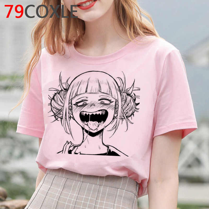 Himiko Toga T Shirt Wanita Hentai Senpai Kartun Lucu Kaos Anime Pahlawan Akademisi Saya Waifu Grafis Unisex Plus Ukuran wanita