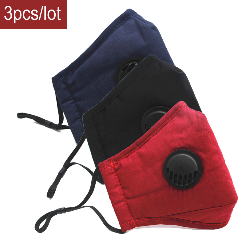 3pcs Cotton Black Mask Mouth Face Mask Anti PM2.5 Dust Mouth Mask Activated Carbon Filter Korean Mask Fabric Face Mask