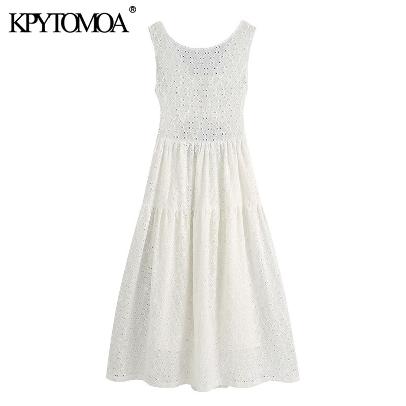KPYTOMOA Women 2020 Chic Fashion With Lining Hollow Out Midi Dress Vintage Backless Tied Wide Straps Female Dresses Vestidos