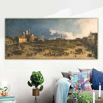 Citon Canaletto《The pra 'della valle in padua》Canvas Oil Painting Artwork Poster Picture Background Wall Decor Home Decoration image
