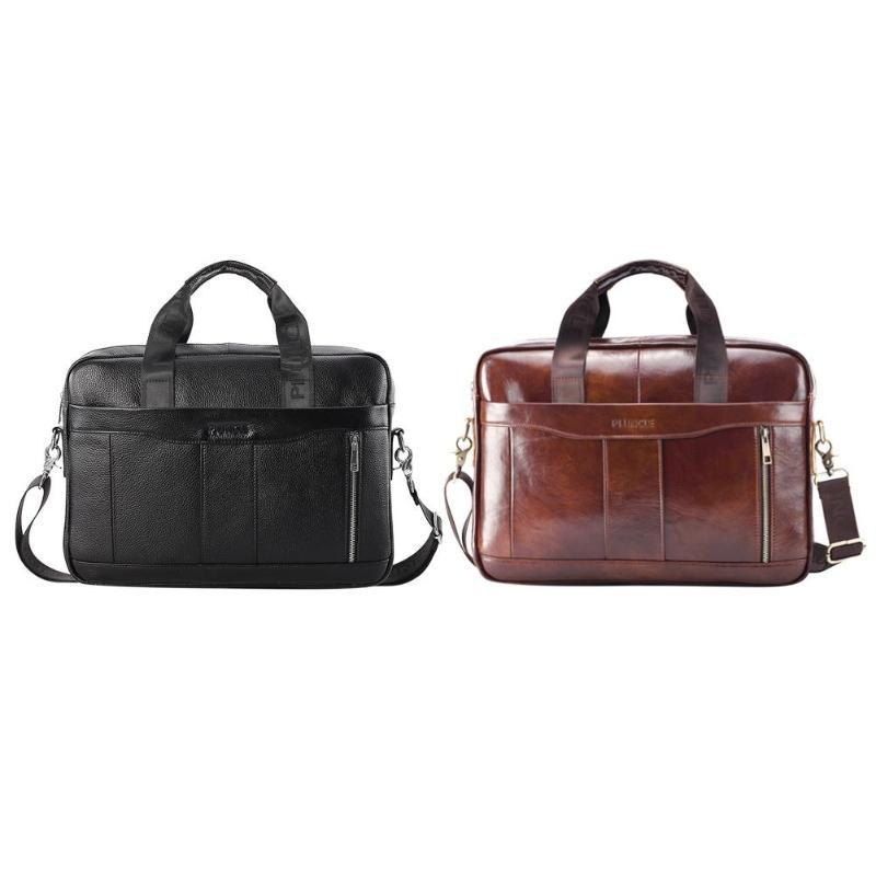 Genuine Leather Men Briefcase Laptop Shoulder Crossbody Bag Office Handbag