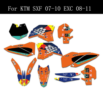 Free Customized Graphics Stickers Kits Background Decals For KTM 125 250 300 350 450 500 SXF SX-F SX 07-10 EXC EXCF EXC-F 08-11