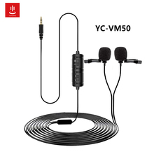 For VM 50 Dual Lavalier Microphone HandsFree Clip on Lapel Microphone Mini Collar Condenser Mic for Camera DSLR Phone PC Laptop