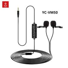 Para VM 50 duplo microfone de lapela de lapela clip on mini colar microfone condensador para câmera dslr telefone computador portátil