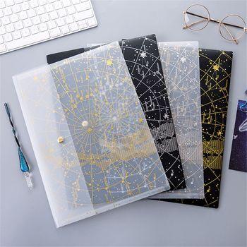 1pc A4 Fantasy Star torba na dokumenty brązowy przycisk laserowy zamknięcie teczka na foldery dokument biurowy Bill Folder duża pojemność przechowywania portfele tanie i dobre opinie Bonytain CN (pochodzenie) 23*32cm File Folder File Bag Office Document Bill Folder Large Capacity Storage Wallets
