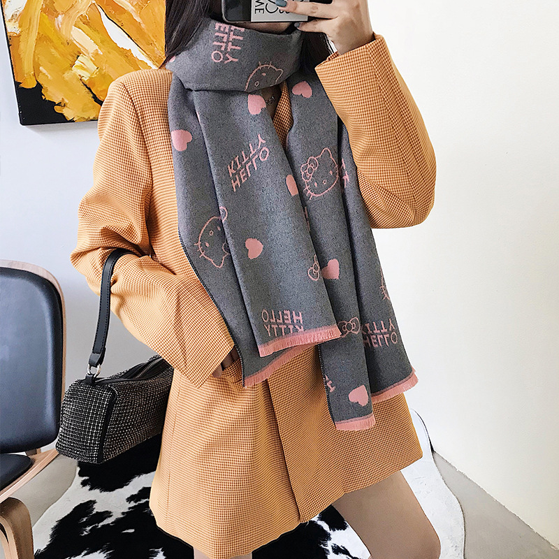 Get Special Offer  Autumn and Winter 2019 Korean Version of New Women's ScarfLovely Cartoon Cat Simulated Cashmere War