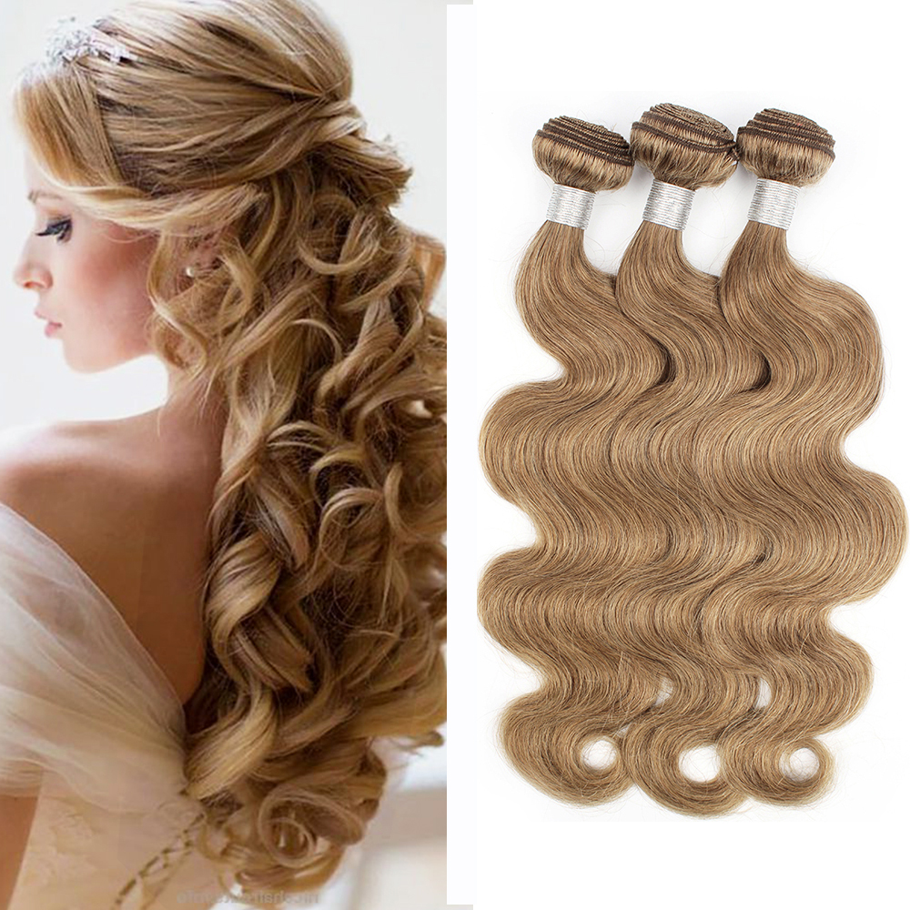 MOGUL HAIR Body Wave Bundles Color 8 Ash Blonde Hair Weave Pre-Colored 16-24 inch Good Quality Remy Human Hair Extension