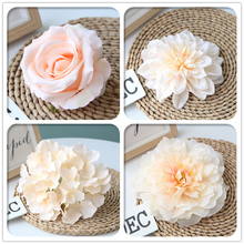 Champagne Color Artificial Flower Wedding Rose Peony Hydrangea Plant Bouquet Wedding Decoration DIY Home Party Fake Flowers white color artificial flower wedding rose peony hydrangea plant bridal bouquet wedding decoration diy home party fake flowers