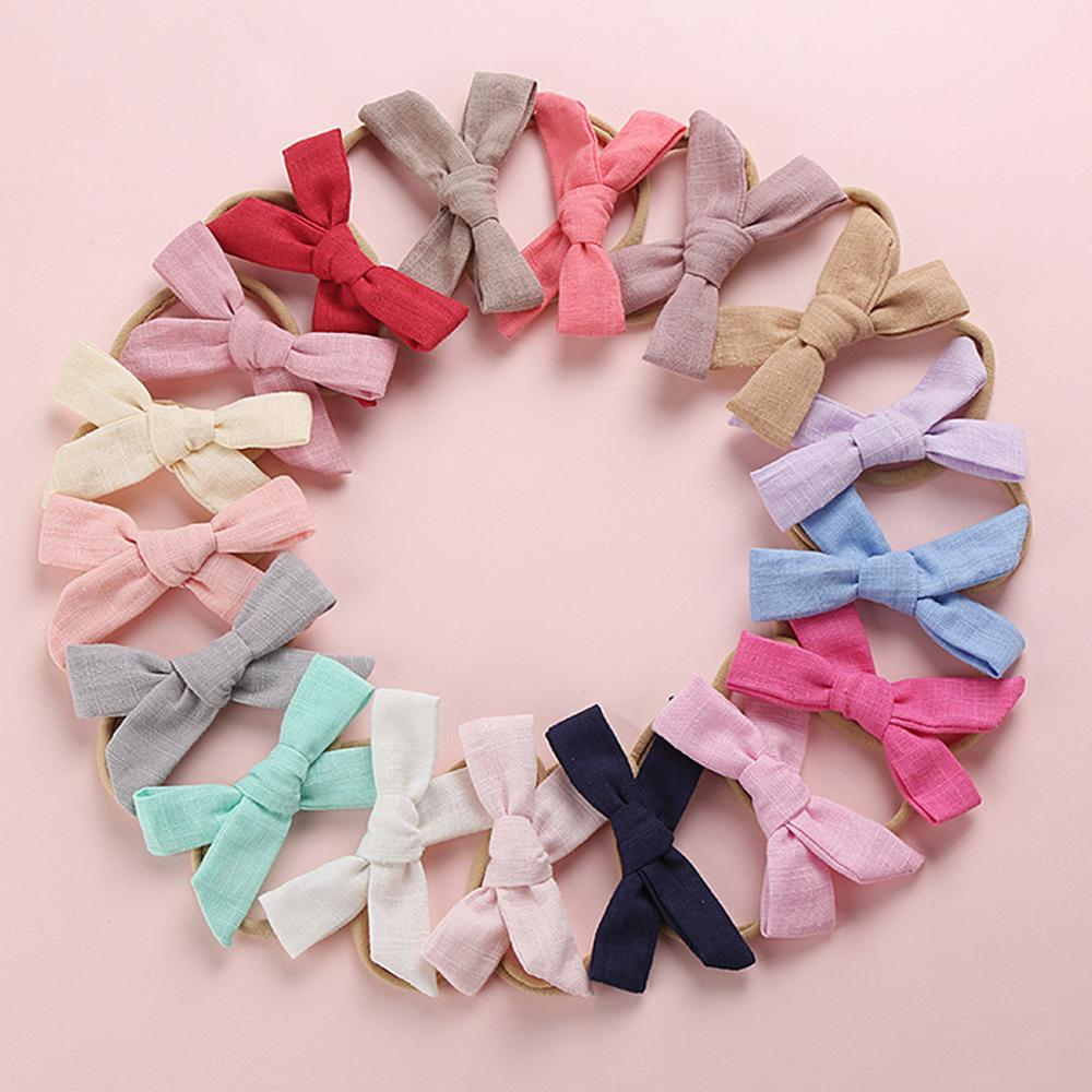 Cute Solid Nylon Baby Headbands For Girls Cotton Linen Bow Handmade Elastic Knot Baby Hairband Headband Newborn Hair Accessories