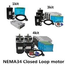 1 3 4 Kit 4.5N 8.5N 12N cnc nema 34 Closed Loop Servo Stepper Motor with Driver HBS860H & Power Supply+ MACH3 Interface board(China)