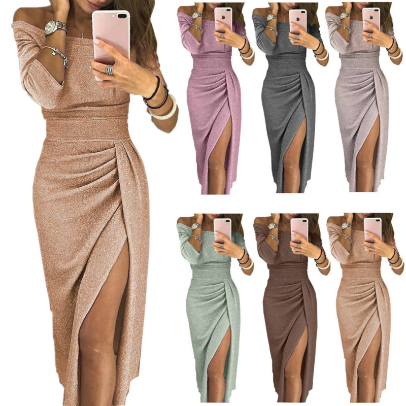 Women Autumn Winter Bandage Dress Women New Fashion Sexy Off Shoulder Long Sleeve Slim Elastic Party Dresses Glitter Powder