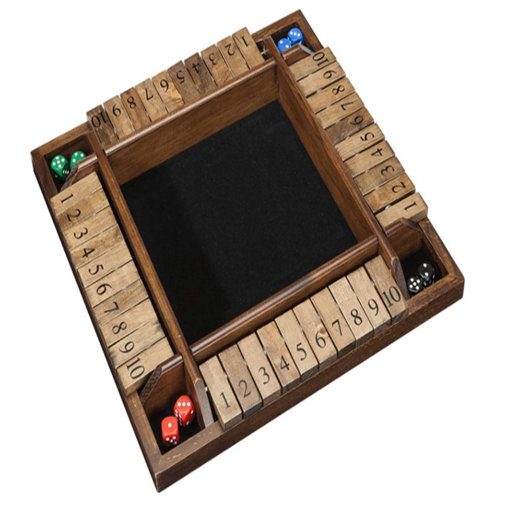 La caja de dados de Juego de 4 caras 10 Número de aletas y dados juego para 4 personas de la familia de los niños Pub Bar suministros para fiestas
