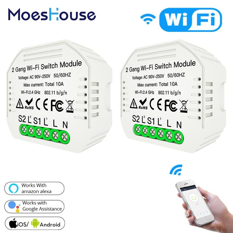 2 PCs Wifi Smart Light Switch Diy Wireless Breaker Module Smart Life/Tuya APP Remote Control,Works With Alexa Echo Google Home