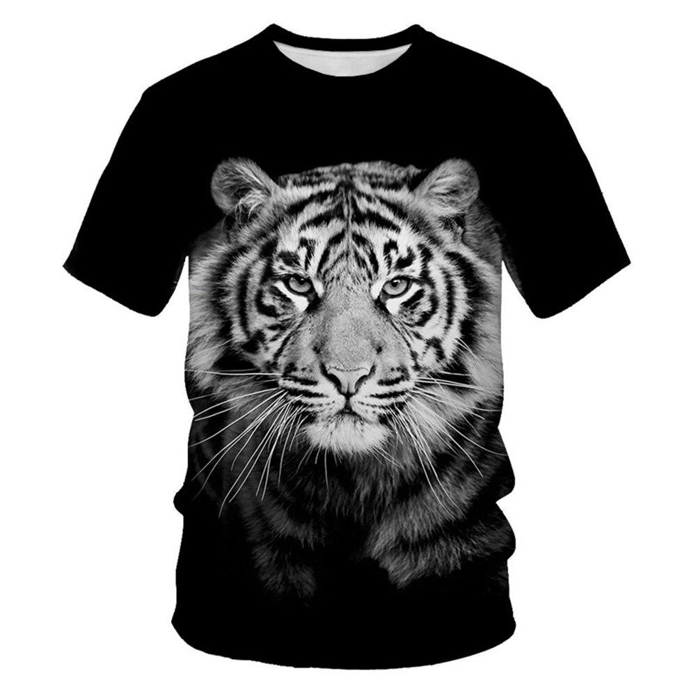 Летняя новая стильная футболка с изображением тигра и животного, крутая 3D стильная рубашка с рисунком, летний тренд, комикс, мужская и мужск...