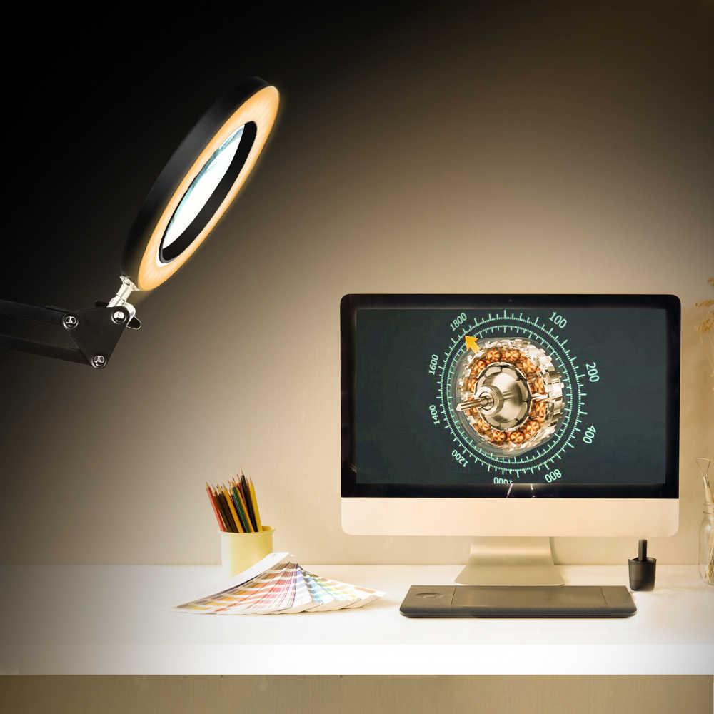 NEWACALOX 8W lupa lámpara de mesa abrazadera de mesa Flexible 5X lupa iluminada soldadura herramienta de tercera mano lupa de lectura