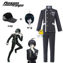 Dangan ronpa shuichi saihara cosplay traje preto danganronpa v3 chapéu calças de topo peruca curta vestido de dia das bruxas uniforme escolar dos homens