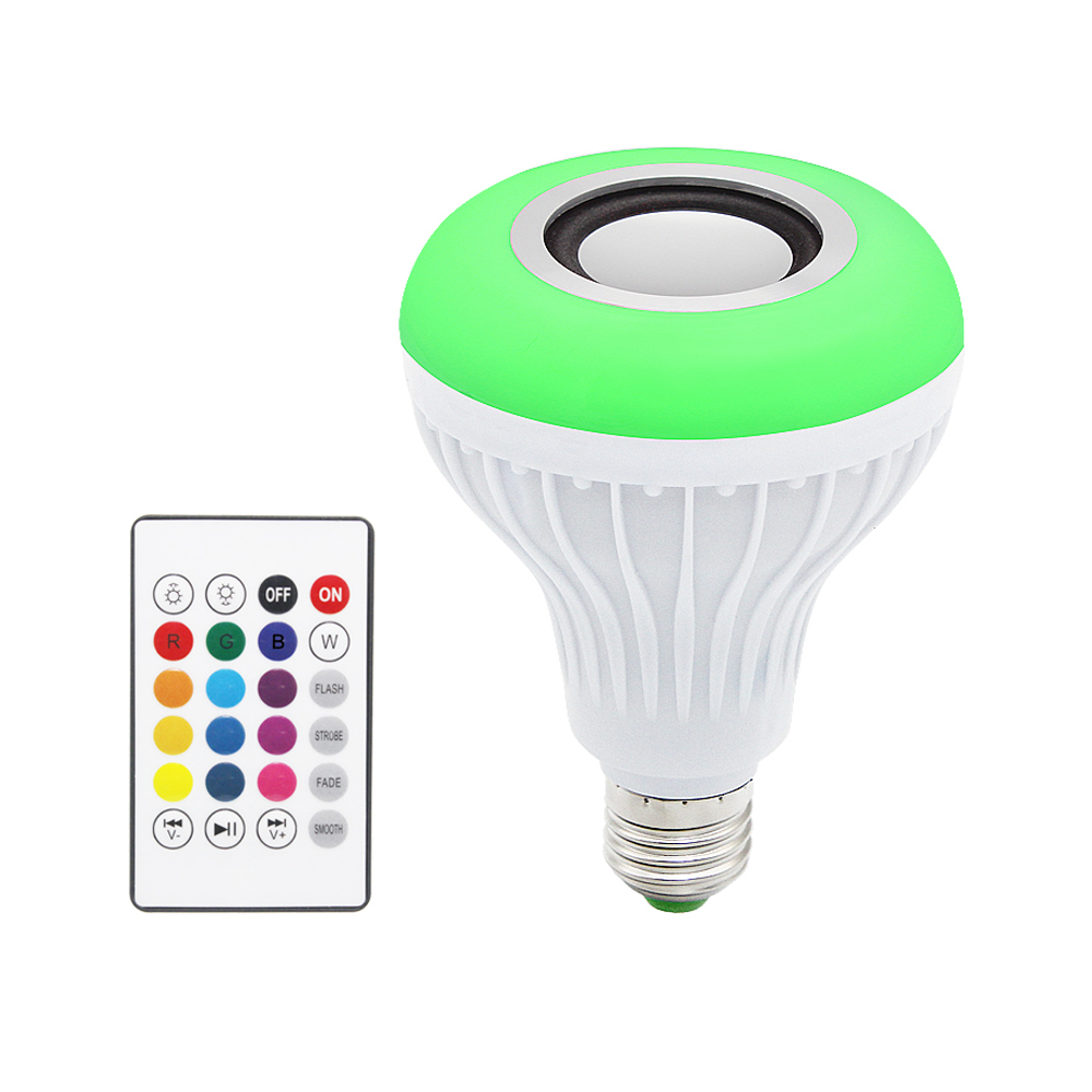 E27 Smart RGB Lamp Wireless Bluetooth Speaker Bulb Music Player Dimmable LED RGBW Music Light 24 Keys Remote Control