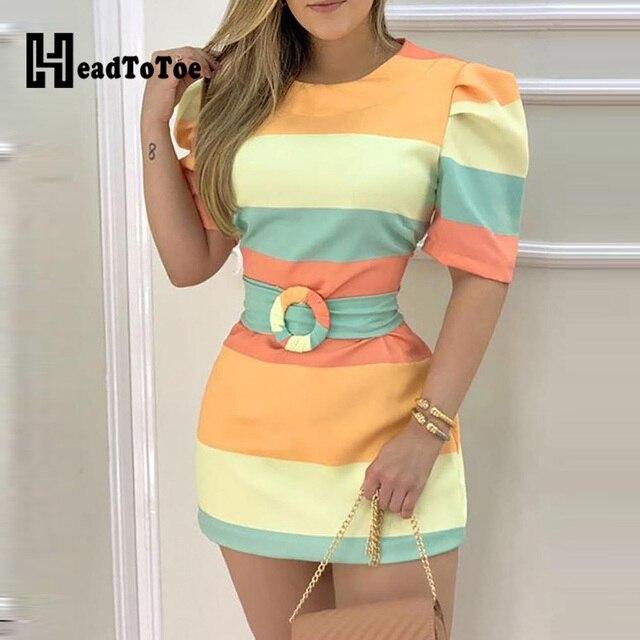 Half Sleeve Colorblock Bodycon Dress 1