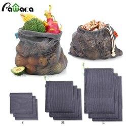9 szt. Torby z siatki wielokrotnego użytku siatka bawełniana produkuje torby na zakupy zestaw ekologiczne przyjazne dla środowiska zmywalne torby do przechowywania warzyw owocowych w Torby i kosze od Dom i ogród na