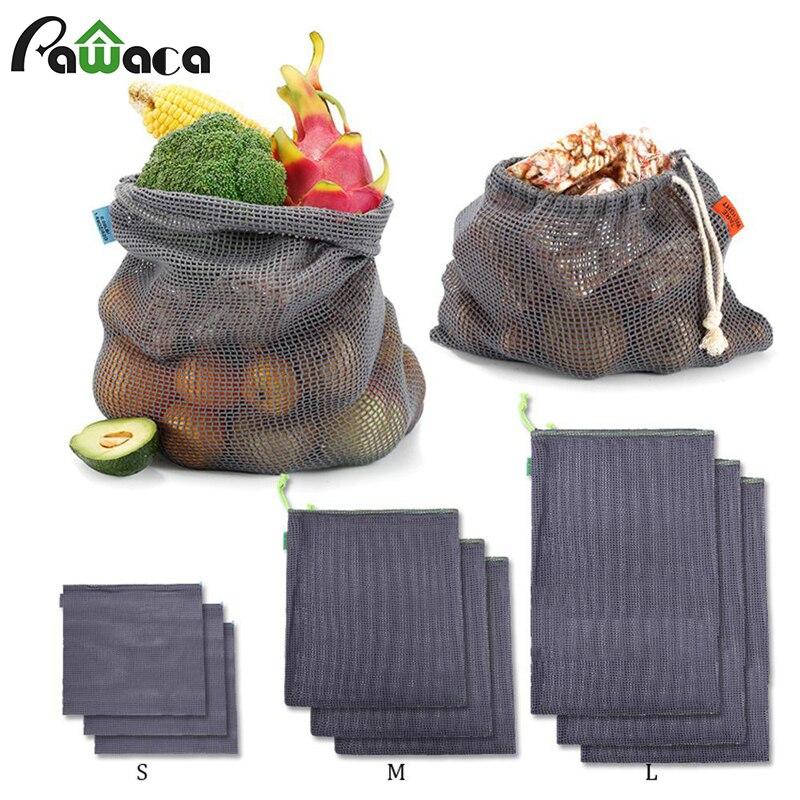 9pcs Reusable Produce Bags Cotton Mesh Produce Shopping Bag Set Organic Eco Friendly Washable Storage Bags for Fruit Vegetables