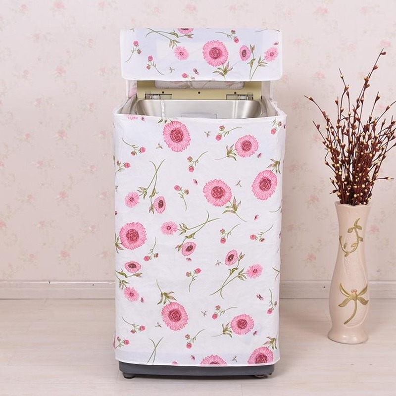 1PC Waterproof Printed Flower Washing Machine Protective Dust Jacket Protective Case Front Loading PVC Dust Proof Cover