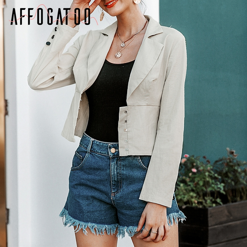 Affogatoo Casual Buttons Women Blazer Coats Long Sleeve High Waist Autumn Winter Female Coats Streetwear Office Ladies Jackets