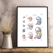Esqueleto agua color impresión abstracta arte médico Poster Ilustración para la decoración de la oficina médica anatómica impresión ciencia arte marco