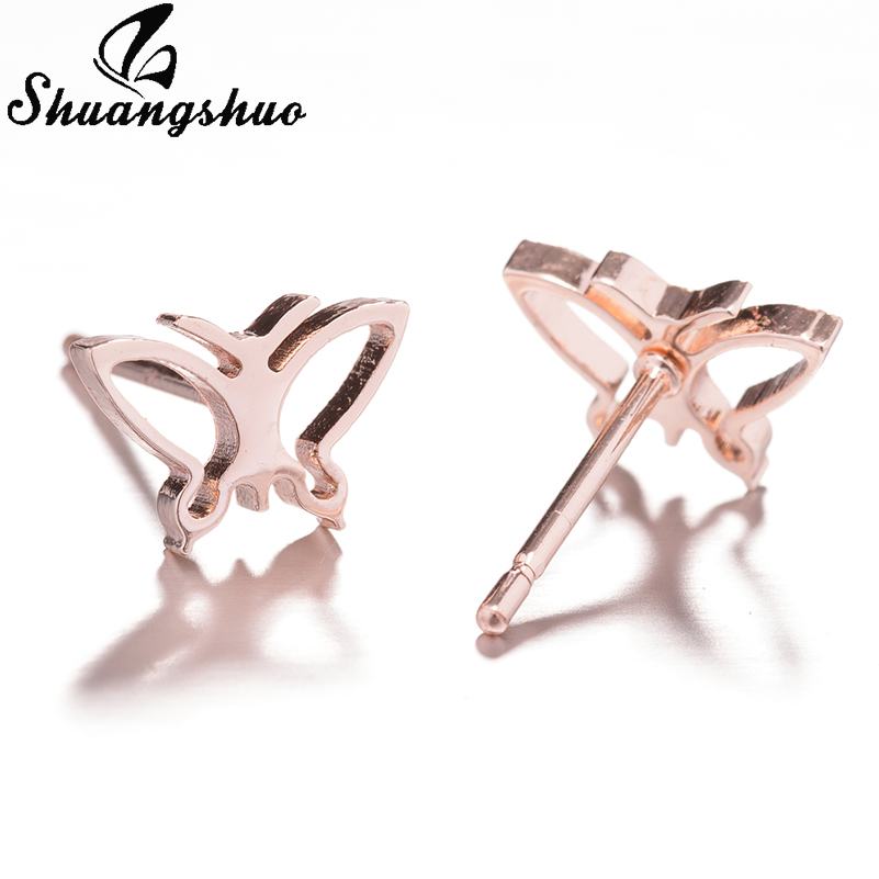 Shuangshuo Gold Stainless Steel Stud Earrings for Women Girls Earings Tiny Cartoon Animal Ear Piercing Jewelry Birthday Gifts