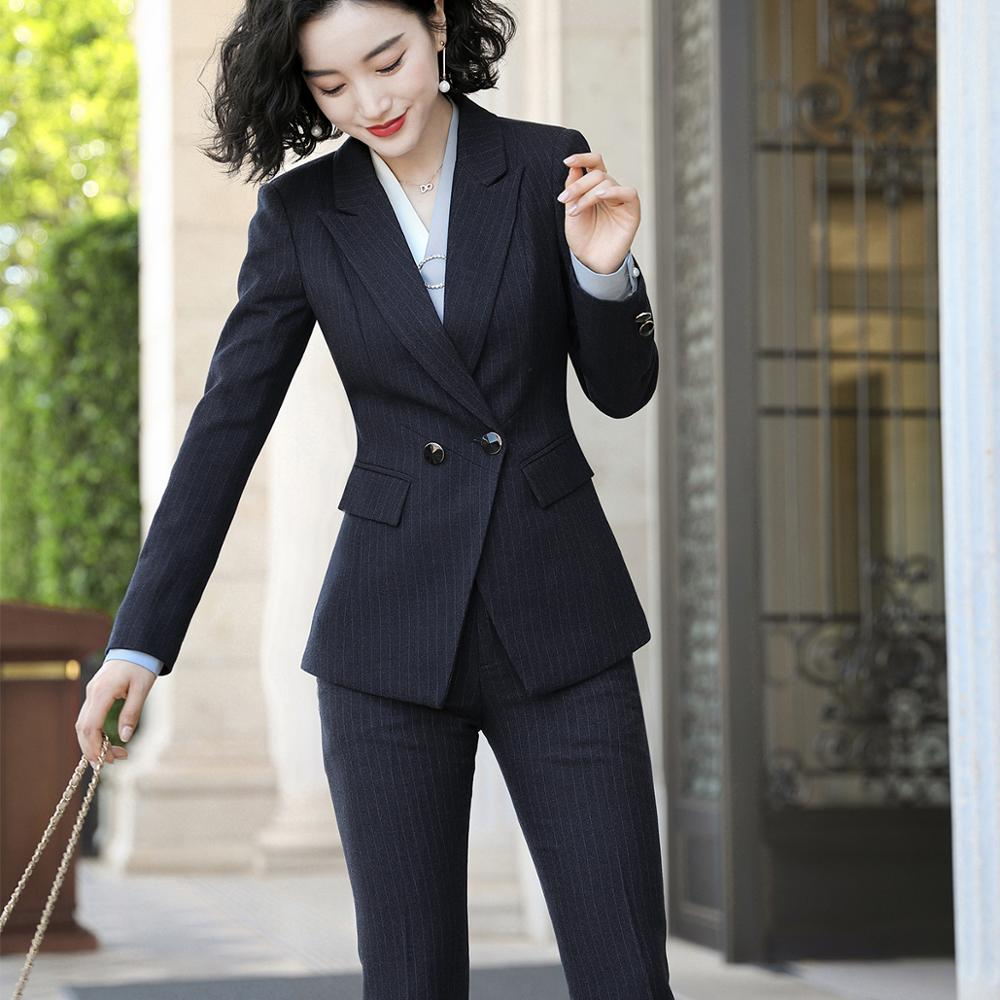 Blue Black Pant Suit Women S-5XL Professional Female Blazer Suit For Office Lady Work Wear Jacket Coat And Pant 2 Piece Set