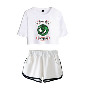 Image 3 - Fashion  American TV Riverdale Women Sexy Summer T Shirt  Woman New Suit Shorts Crop Fashion Top Shorts Two Piece Set