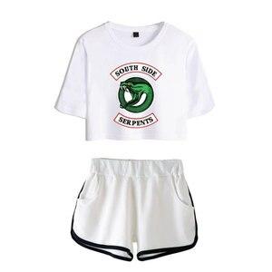 Image 3 - แฟชั่นอเมริกันทีวี Riverdale ผู้หญิงเซ็กซี่ฤดูร้อน T เสื้อผู้หญิงชุดใหม่กางเกงขาสั้น Crop แฟชั่นกางเกงขาสั้นยอดนิยม 2 ชิ้นชุด