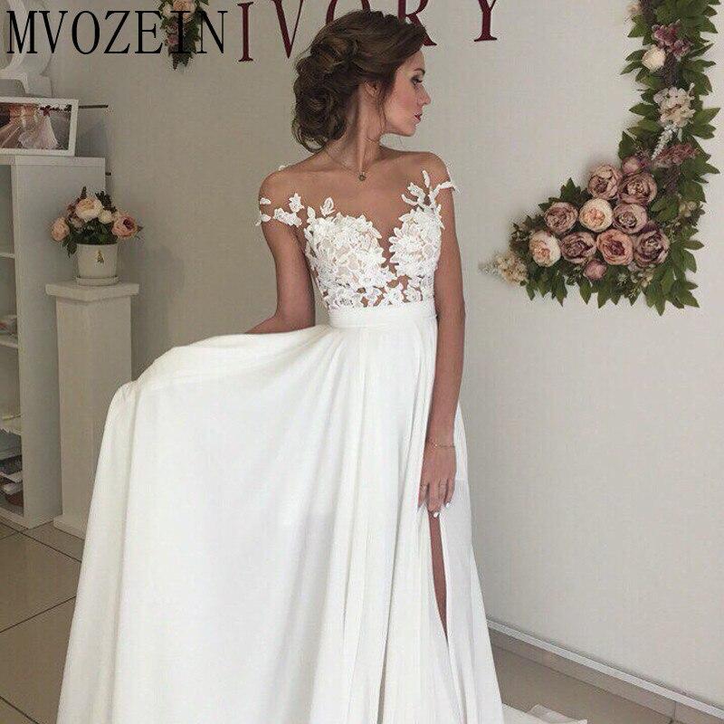 Boho Weiß Hochzeit Kleider Chiffon A linie Cap Sleeves Spitze Brautkleider Hohe Split Hochzeit Kleid vestido de noiva - 4