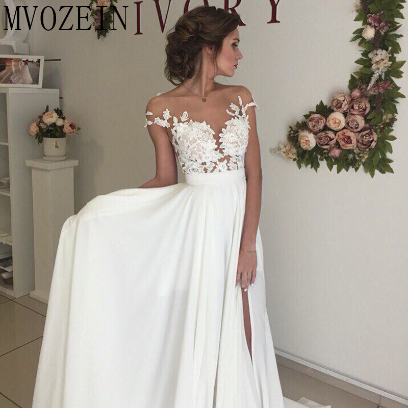 Boho White Wedding Dresses Chiffon A-Line Cap Sleeves Lace Bridal Gowns High Split Wedding Dress vestido de noiva