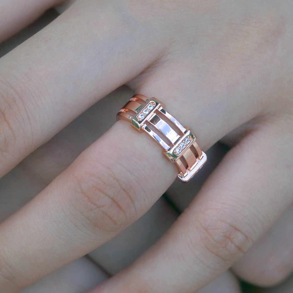 Creative ชายคริสตัลสีขาว Zircon แหวนหิน Luxury Rose Gold สีนิ้วมือแหวนแฟชั่นแหวนหมั้นสำหรับชาย