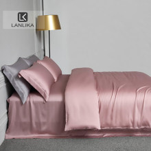 Lanlika Pink 100% Silk Bedding Set Beauty Skin For You Queen King Quilt Cover Bed Sheet Fitted Sheet Pillowcase Home Bed Sets
